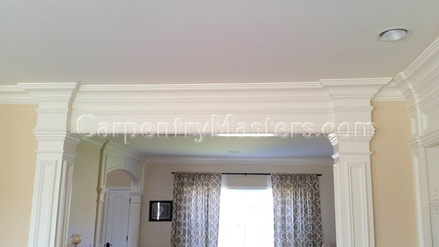 Columns with crown molding header doorway trimwork Crown columns