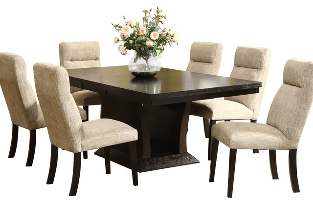 homelegance avery 7 piece pedestal dining room set in espresso