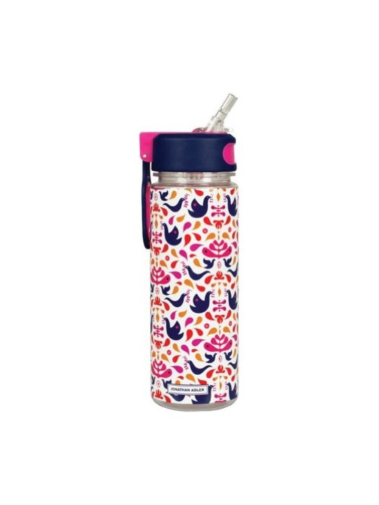 Jonathan Adler - Jonathan Adler Water Bottle with Straw, Doves - The modern woman of today makes sure to stay highly hydrated at all times. And so, she sips from Jonathan Adler's undeniably chic water bottle, which comes complete with a built-in straw. It features rubberized lid for grip and a clip for ultimate portability.