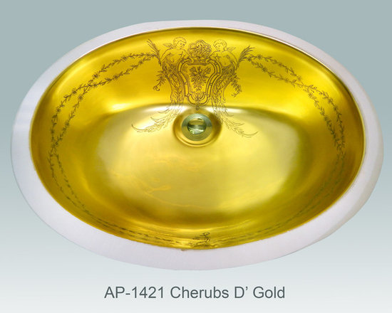 "Hand Painted Undermounts by Atlantis Porcelain - ""CHERUBS D' GOLD"" Shown on AP-1421 white Ovalyn undermount ID/17-1/2""x14-1/2""this design is available in burnished gold and platinum on any of our sinks. You can customize the design using colors to match your specific décor."