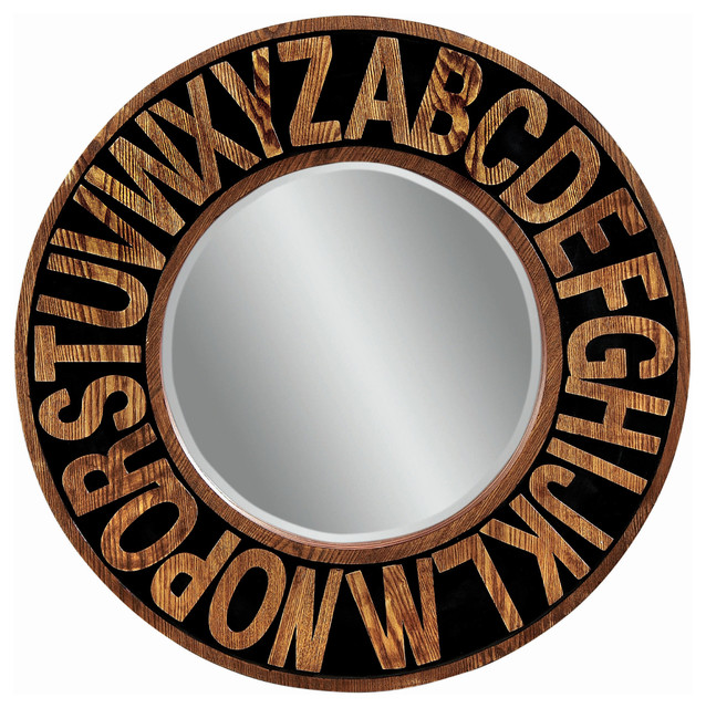 Alphabet round wall mirror eclectic mirrors by