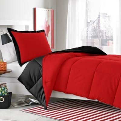 Micro Splendor Red Black Reversible Comforter Set