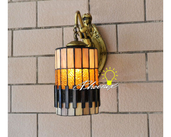 Antique Handmade Colorful Glass Wall Sconce in Copper Finish - Antique Handmade Colorful Glass Wall Sconce in Copper Finish