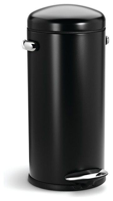 30 Litre Retro Step Can Black Steel Modern Trash Cans