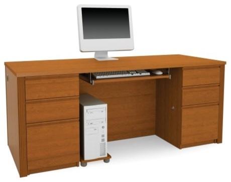 Bestar Prestige Plus Double Pedestal Computer Desk - Cognac Cherry contemporary-desks