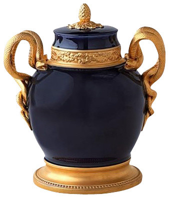 L 39 Objet Cobalt Blue Urn With Gold Serpents Contemporary Home Decor By Chelsea Gifts Online