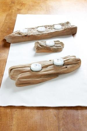 Reclaimed wood flat wood tea light candleholder beach for Flat candle holders