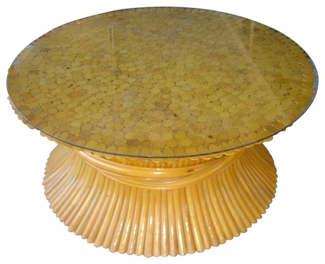 Rattan Coffee Table eclectic-coffee-tables
