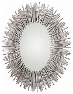 Prescott oval mirror antique silver leaf contemporary for Prescott mirror