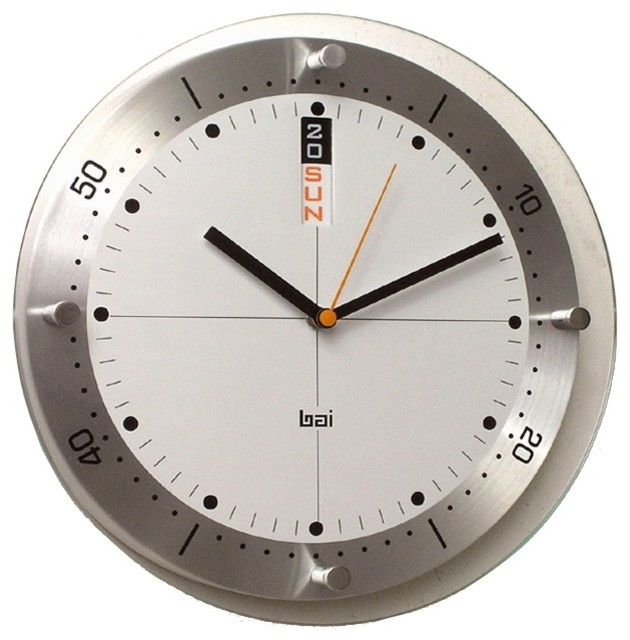 "Contemporary Timemaster Day/Date 11"" Wide Wall Clock contemporary clocks"