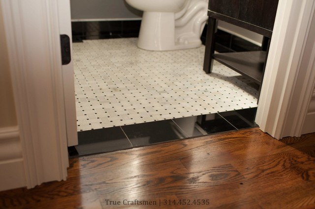 Retro bathroom hexagon floor with marble basketweave contemporary los angeles by westside Marble hex tile bathroom floor