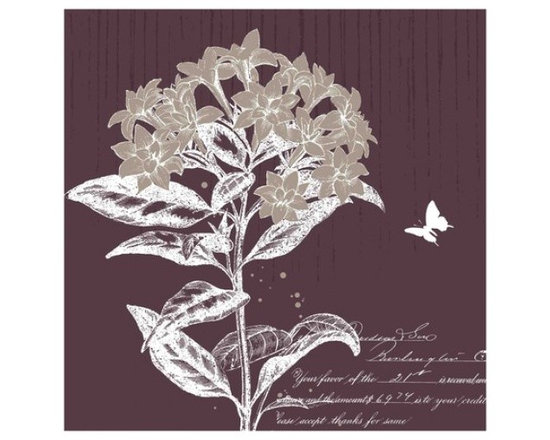 Yosemite Home Decor - Labrador Tea Bloom I Art - This is a print with a large Labrador Tea Bloom and sweet small butterfly against a muted plum background.