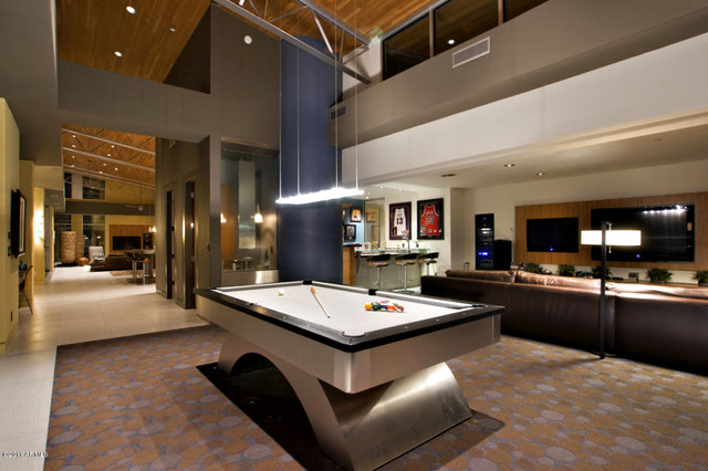 Arcadia suburban modern pool table bar theatre - Bar room pictures ...