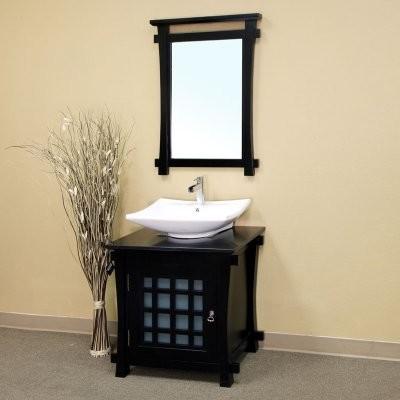 Bellaterra Ancona 29.9-in. Black Single Bathroom Vanity with Optional Mirror modern-bathroom-vanities-and-sink-consoles
