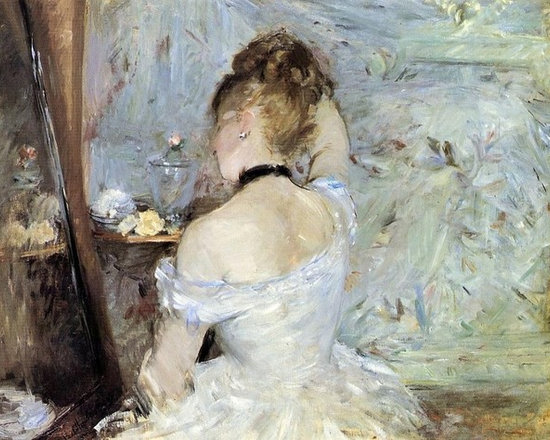 """Morisot Young Woman at the Mirror (Young Girl Getting Dress Print - 18"""" x 24"""" Berthe Morisot Young Woman at the Mirror (also known as Young Girl Getting Dressed, Seen from the Back) premium archival print reproduced to meet museum quality standards. Our museum quality archival prints are produced using high-precision print technology for a more accurate reproduction printed on high quality, heavyweight matte presentation paper with fade-resistant, archival inks. Our progressive business model allows us to offer works of art to you at the best wholesale pricing, significantly less than art gallery prices, affordable to all. This line of artwork is produced with extra white border space (if you choose to have it framed, for your framer to work with to frame properly or utilize a larger mat and/or frame).  We present a comprehensive collection of exceptional art reproductions byBerthe Morisot."""