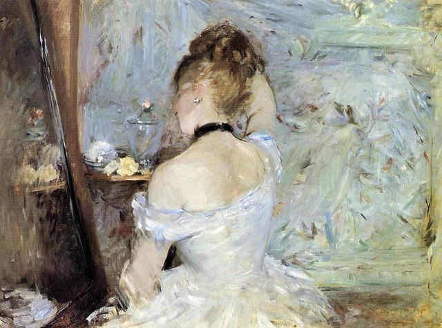 Morisot Young Woman at the Mirror (Young Girl Getting Dress Print traditional-artwork