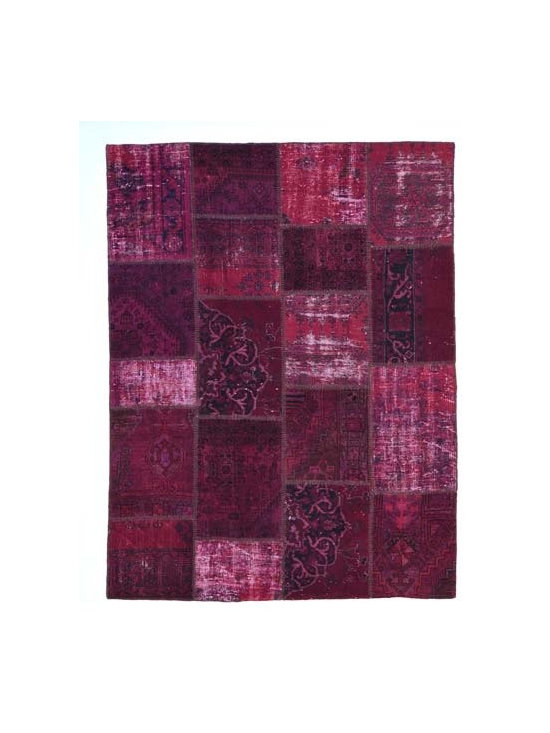 Over-dyed Anatolian Patchwork Rug - This piece is an Over-dyed Anatolian Patchwork Rug created by first neutralizing the colors and then over-dying with dark red to achieve a contemporary effect and bring old hand-made rugs back to life. The result is almost like an abstract painting. This piece is backed with cotton cloth to reinforce.