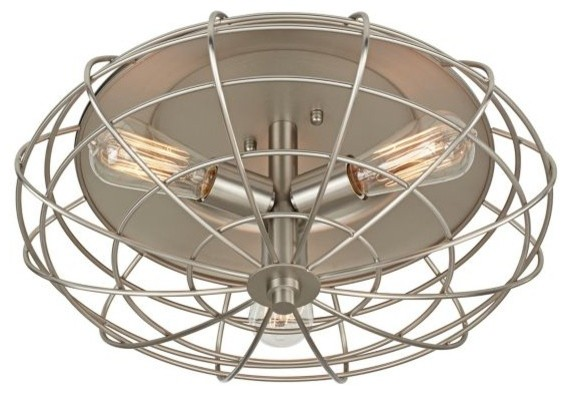 "Industrial Cage Nickel 7 1 2"" High Ceiling Light Fixture Farmhouse F"