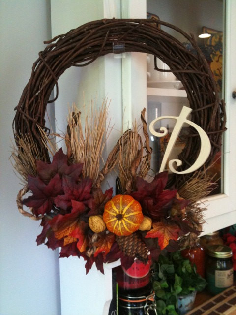 Fall Thanksgiving Harvest Initial Wreath Traditional