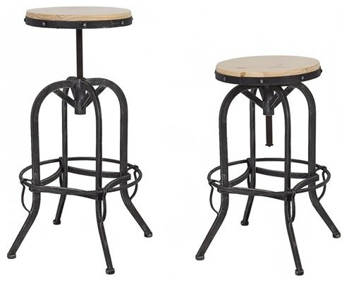 Vintage Bar Stool Industrial Metal Design Wood Top