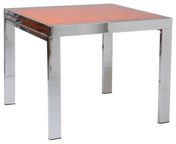 eurostyle duo square dining table w chrome base orange