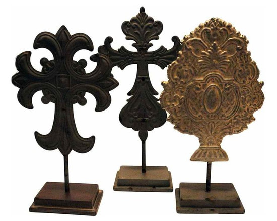 Embossed Tin Crosses - Set of 3 Vintage embossed Santos tin crosses and crowns mounted on vintage style stands.