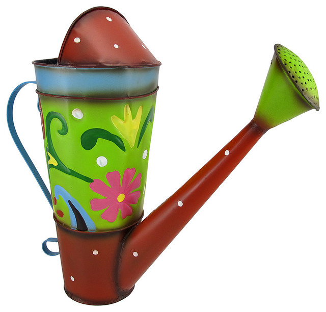 Colorful Decorative Watering Can Folk Art Traditional