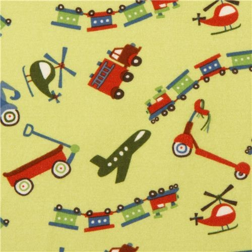Green riley blake flannel fabric train airplane scooter for Train print fabric
