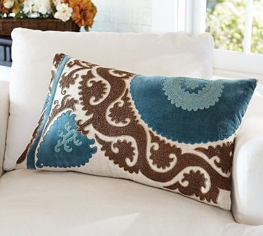 Ellie Suzani Embroidered Applique Lumbar Pillow Cover, 16 x 26