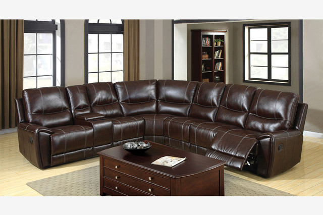 Transitional Brown Leather Reclining Sectional Sofa 3