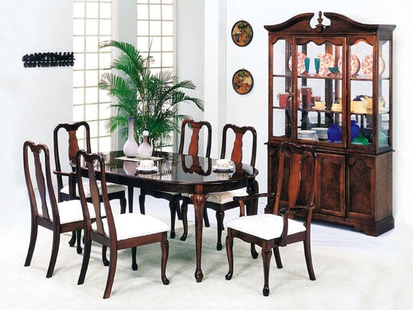 acme furniture queen anne wood veener 7 piece dining set 2243a