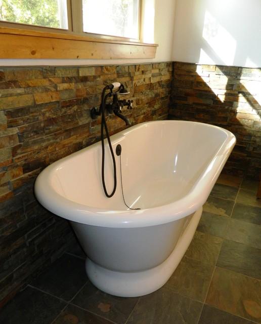 Volcanic limestone bathtub modern dallas by wright built for Limestone tub