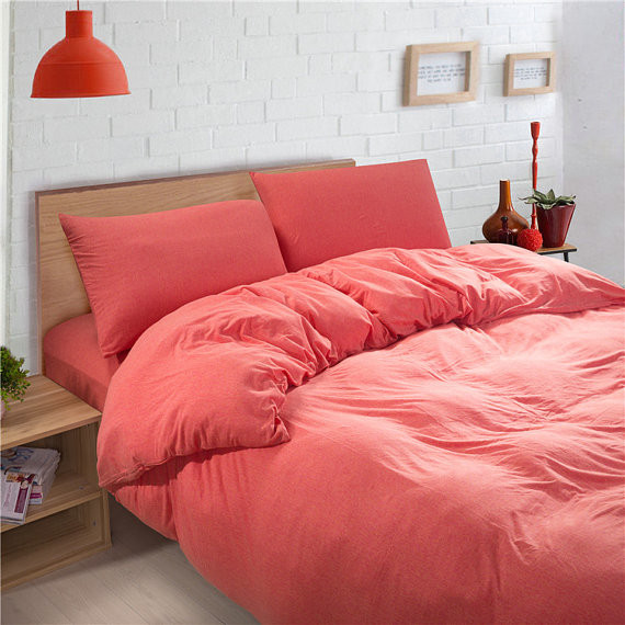 Coral Pink Solid Color Baby Bedding Duvet Cover Sets King Queen Size Co
