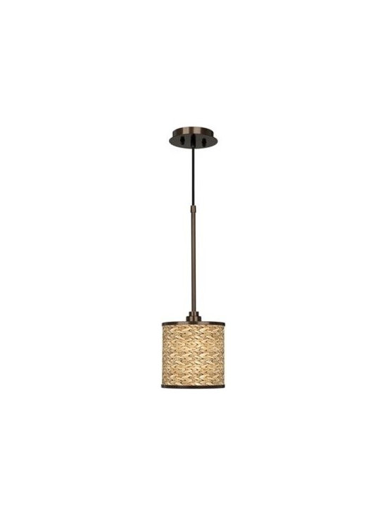 Bronze with Seagrass Giclee Glow Shade Mini Pendant Light -