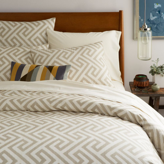 Organic Ikat Key Duvet Cover Pillowcases Flax Modern