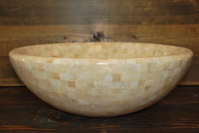 Onyx stone mosaic vessel sink for Onyx vessel sinks