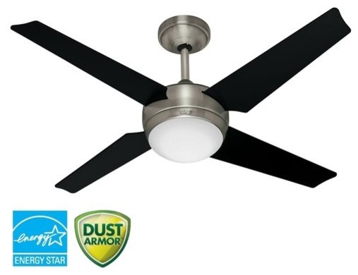 "Hunter 21585 Brushed Nickel Sonic Sonic 52"" 4 Blade Energy Star contemporary-ceiling-fans"