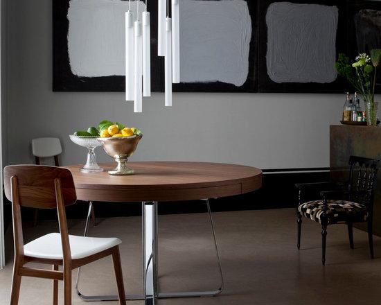 Ava - Ligne Roset - Ava dining table, Tuba hanging lights, Marcello chair.