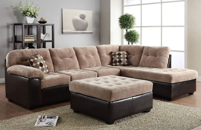 Acme camel champion fabric button tufted sectional sofa for Button tufted chaise settee