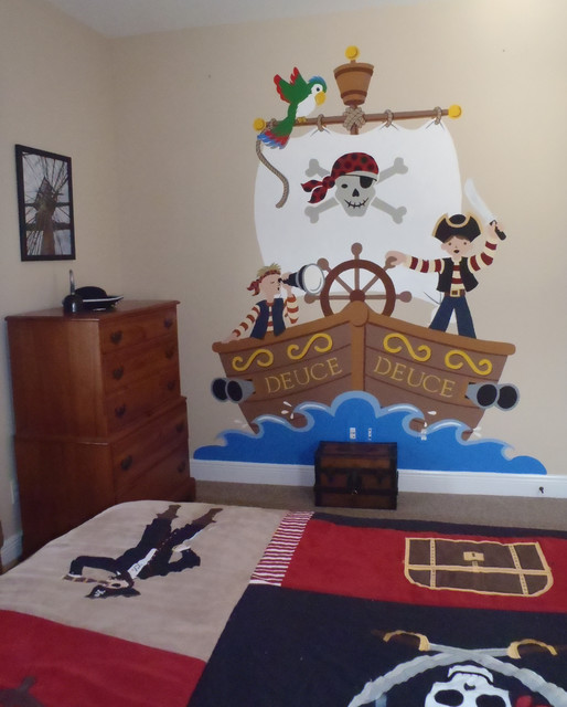 A pirate adventure contemporary kids wall decor los for Pirate bathroom ideas
