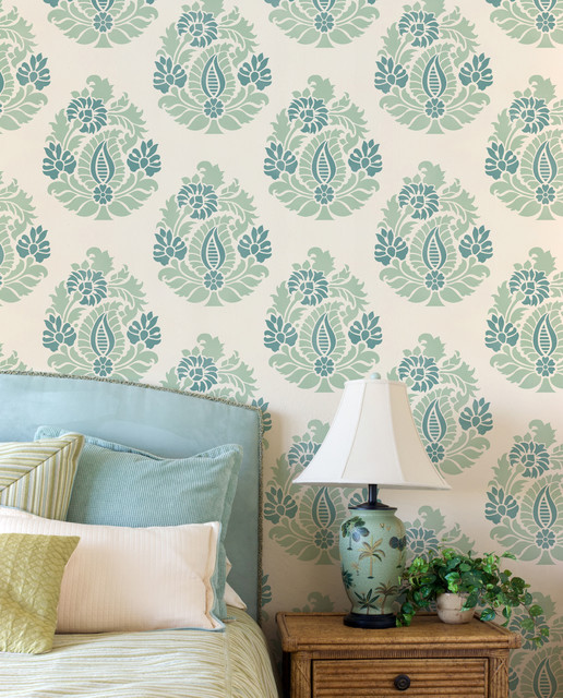 Rani paisley damask allover stencil asian wall stencils san diego by royal design studio - Oriental stencils for walls ...