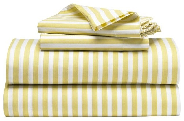 Stripe Sheet Set, White/Citron modern-sheet-and-pillowcase-sets