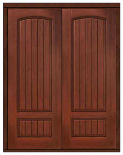 Prehung Entry Double Door 96 Fiberglass 2 Panel V Grooved