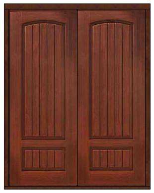 Prehung Entry Double Door 96 Fiberglass 2 Panel V Grooved Solid Rustic Front Doors Tampa