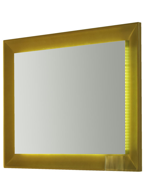 "Viena LED 43"" 1/4 touch light mirror. Gold. -"