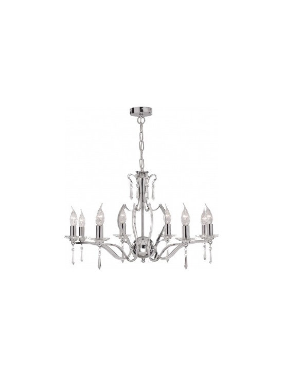Chichi Furniture Exclusives. - Stunning chrome Tiara 8 Light Chandelier with elegant curved frame with delicate glass sconces, trimmed with crystal drops.