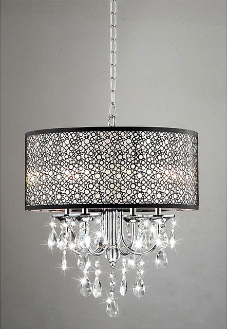 Indoor 4 Light Chrome Crystal Metal Bubble Shade Chandelier Contemporary