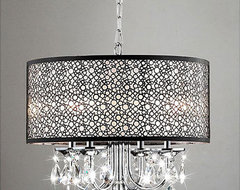 Indoor 4-Light Chrome/Crystal/Metal Bubble Shade Chandelier contemporary-chandeliers