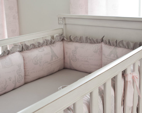 Paris Script Crib Bumper - The crib bumper features Silver French Damask along the outside with a plush interior of Pink French Script. Ties of Light Pink Cotton Lawn and ruffled trim in Silver Gray Silk add the perfect touch to this bumper.