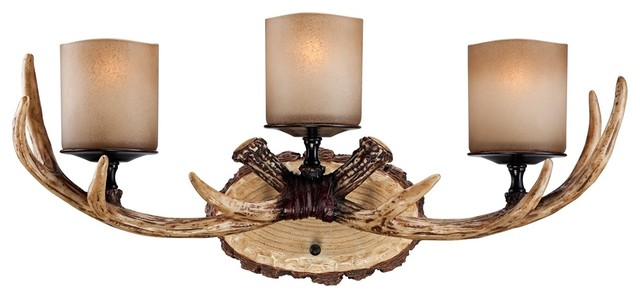 Deer Bathroom Vanity Lights : Country - Cottage Faux Deer Antlers Candle Glass 22 1/2